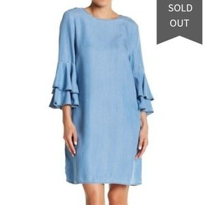 Beach Lunch Lounge Blue Chambray Bell Sleeve Dress